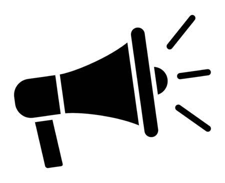 Megáfono eléctrico con icono de vector plano de publicidad de sonido o marketing para aplicaciones y sitios web