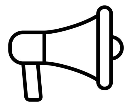 Electric megaphone or marketing advertising line vector icon for apps and websites