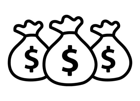 Bags of money or cash savings line art vector icon for financial apps and websites