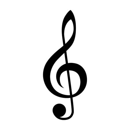 Treble clef or classical music note flat vector icon for musical apps and websites