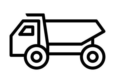 Dump truck / dumptruck or dumper truck line art vector icon for apps and websites 일러스트