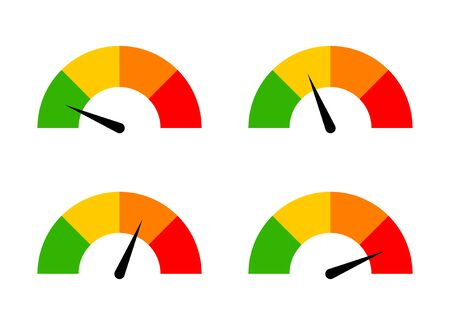A set of speed performance gauges / measurement gauge from low to high flat vector icons for apps and websites Illustration