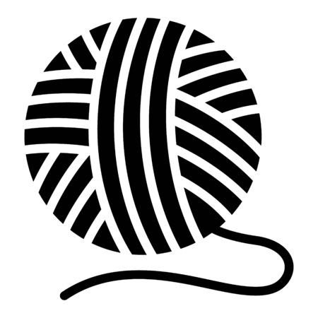 Boule de fil à tricoter avec icône vectorielle plate à fil lâche pour la création d'applications et de sites Web