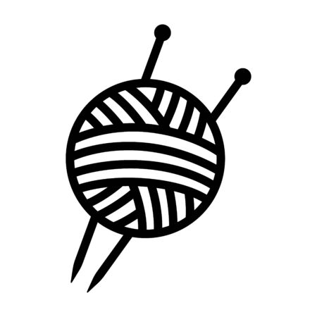 Yarn ball with knitting needles line art vector icon for crafting apps and websites