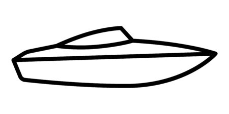 Speed boat or speedboat  motorboat line vector icon for transportation apps and websites 向量圖像