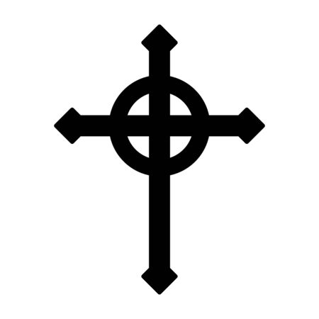 Ringed Celtic or Gothic Christian cross with nimbus ring flat vector icon for religion apps and websites