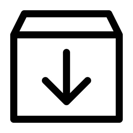 Archive message or storage box line art vector icon for apps and websites Illustration