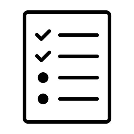 Document with logs, checklist or survey line art vector icon for apps and websites