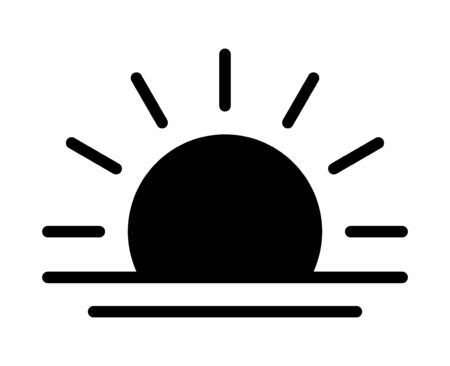 Sunrise in the morning or sunset at dusk flat vector icon for apps and websites 矢量图像