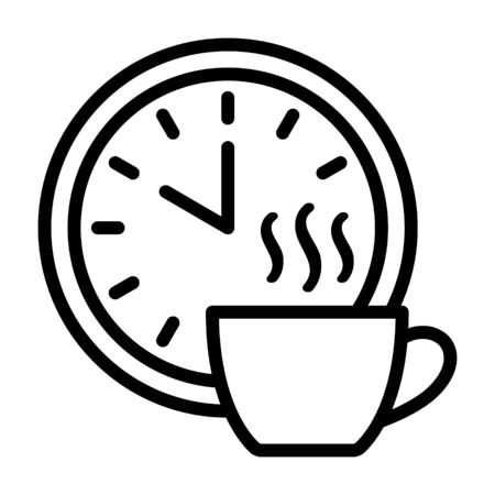 Coffee break time off line art vector icon for apps and websites Illustration