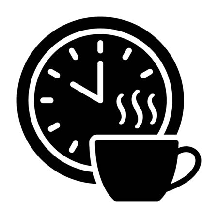 Coffee break time off flat vector icon for apps and websites