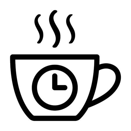 Coffee break from work line art vector icon for apps and websites Illusztráció
