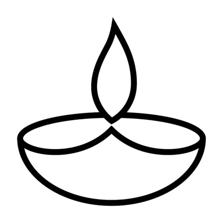 Diwali diya oil lamp line art vector icon for holiday apps and websites