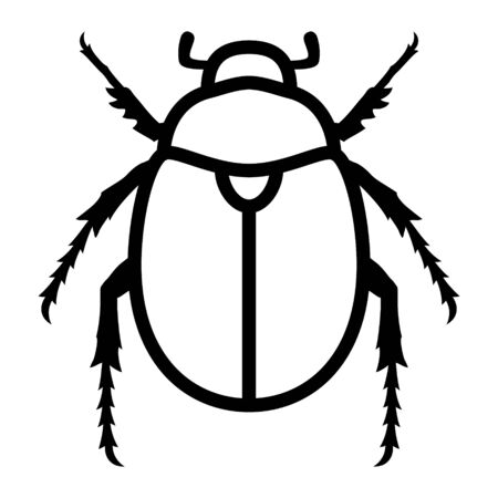 Scarab beetle line art vector icon for wildlife apps and websites