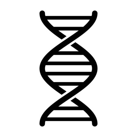 DNA / deoxyribonucleic acid double helix flat vector icon for science apps and websites Vectores
