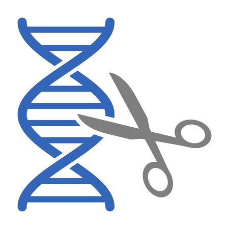 DNA gene / genome editing with scissors or eugenics flat vector color icon for science apps and websites
