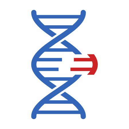 DNA genetic engineering or gene  genome editing flat vector color icon for science apps and websites