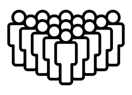 Foule de personnes, grande équipe ou icône vectorielle d'art en ligne d'audience pour les applications et les sites Web