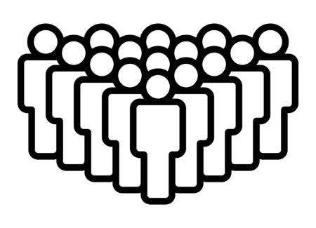 Crowd of people, big team or audience line art vector icon for apps and websites