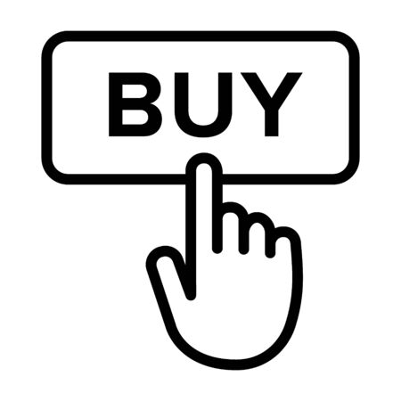Hand clicking or tapping on buy button line art vector icon for apps and websites