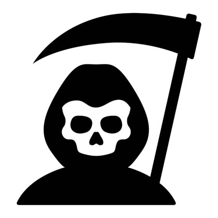 Grim reaper or death with hood and skull wielding a scythe flat simple vector icon for games and websites
