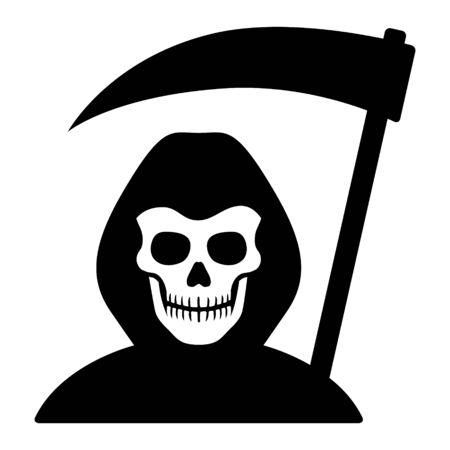 Grim reaper o morte con cappuccio e teschio che brandisce un'icona vettoriale piatta falce per giochi e siti web Vettoriali