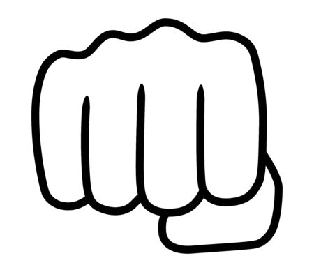 Punch or fist fight line art vector icon for fighting apps and websites