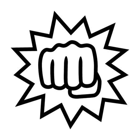Potente golpe con icono de vector de arte de línea de impacto o nocaut para aplicaciones de lucha y sitios web
