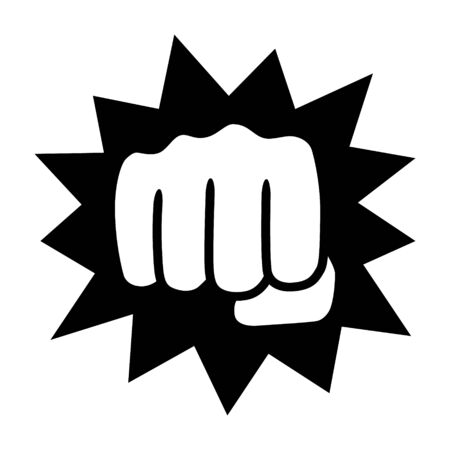 Powerful punch with impact or knockout flat vector icon for fighting apps and websites Vettoriali
