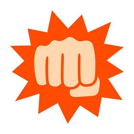 Potente pugno con icona a colori vettoriale piatta a impatto o knockout per combattere app e siti Web