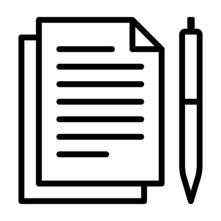Pen and paper for documentation line art vector icon for apps and websites Çizim