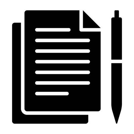 Stift und Papier für die Dokumentation flaches Vektorsymbol für Apps und Websites
