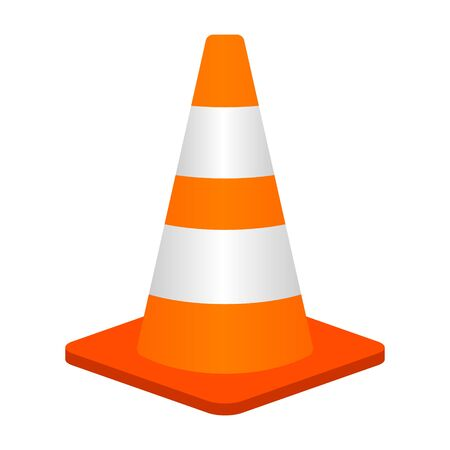 Traffic cone or road pylon flat vector color icon for apps and websites