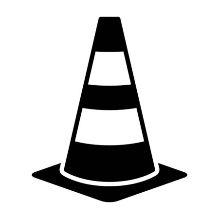 Traffic cone or road pylon flat vector icon for apps and websites