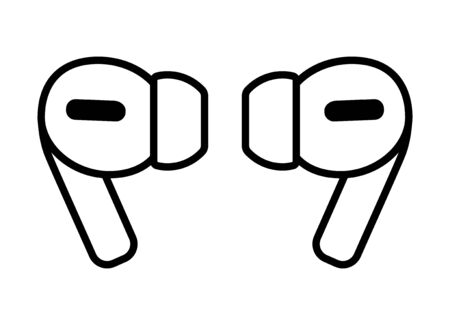 A pair of wireless earbud headphones line art vector icon for apps and websites