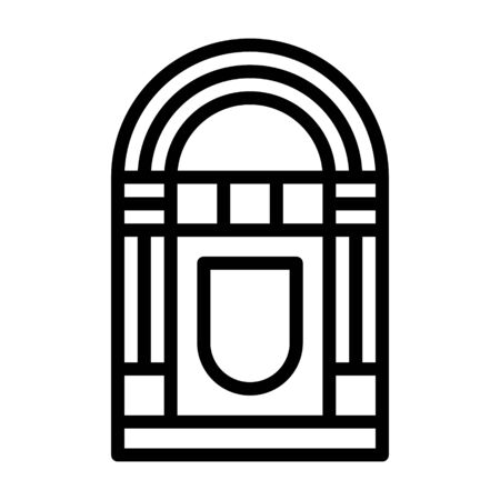 Vintage music jukebox line art vector icon for apps and websites