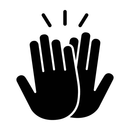 High five or high 5 hand gesture flat vector icon for apps and websites