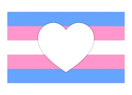 Trans or transgender flag with heart flat vector for apps and website