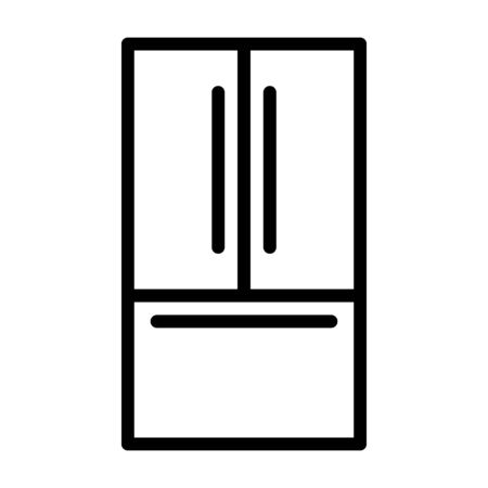 Modern French door refrigerator or fridge line art vector icon for apps and websites