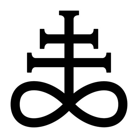 Leviathan cross, the alchemical symbol of sulfur or satanism flat vector icon for games and websites Stock Illustratie