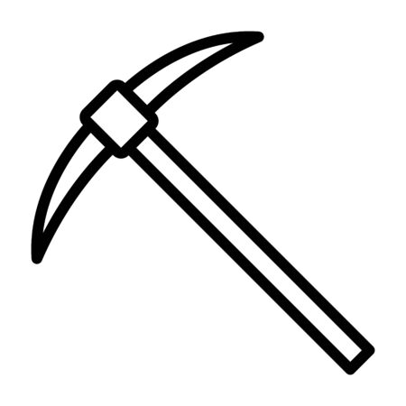 Pickaxe or pick axe digging tool line art vector icon for apps and games Stock Illustratie