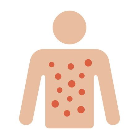 Skin rash, contact dermatitis or eczema on body flat vector color icon for apps and websites