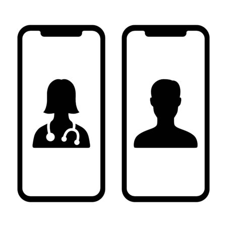 Telemedicine or telehealth virtual visit / video visit between two mobile phones flat vector icon for healthcare apps and websites Stock Illustratie