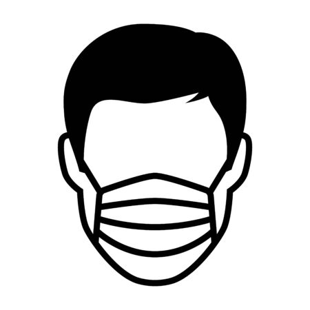 Face mask or surgical mask flat vector icon for medical apps and websites
