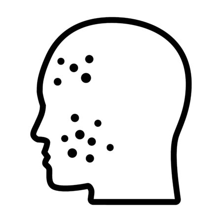 Acne or pimples on face line art vector icon for medical apps and websites