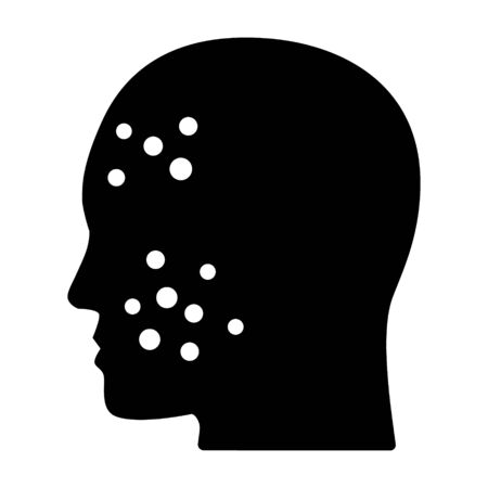 Acne or pimples on face flat vector icon for medical apps and websites