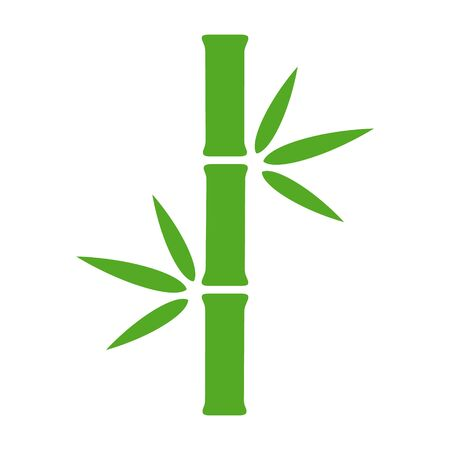 Bamboo stalk with leaves flat green vector icon for nature apps and websites Stock Illustratie