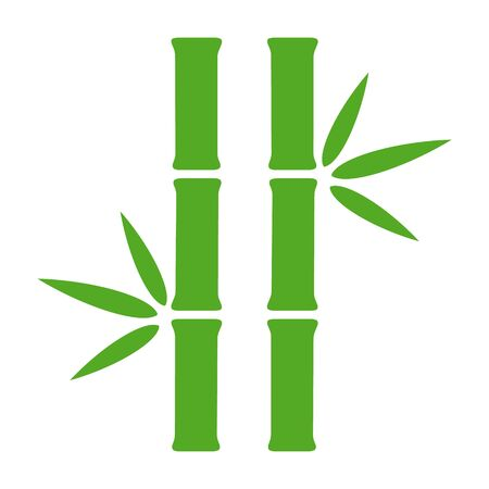 Two bamboo stalks with leaves flat green vector icon for nature apps and websites