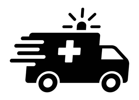 Fast moving ambulance truck with siren emergency transport flat icon for medical apps and websites