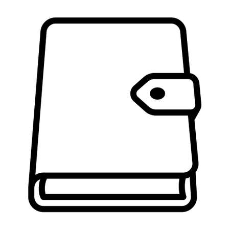 Journal or daily dairy with clasp line art vector icon for apps and websites